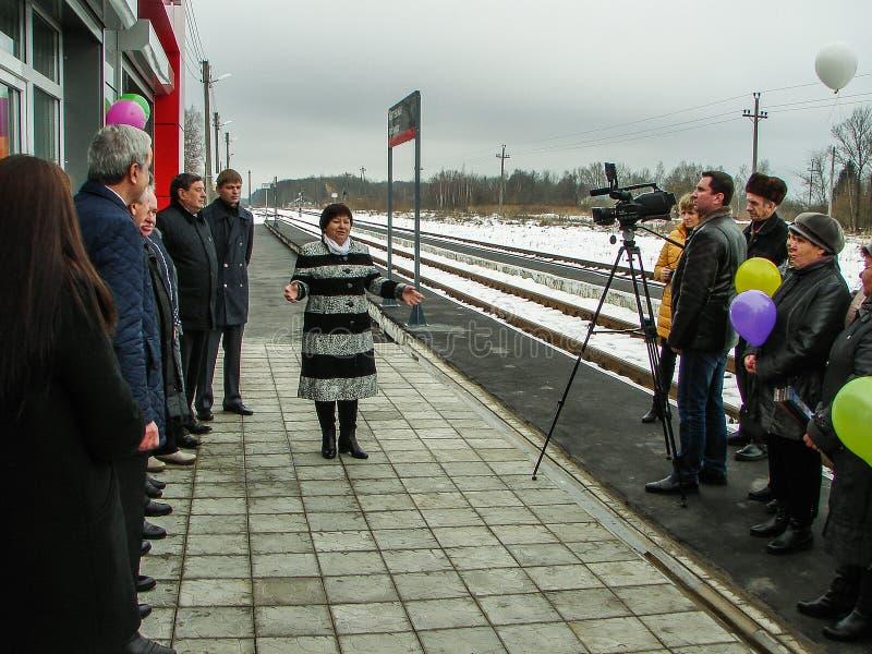 L'ouverture de la première dans la salle d'attente modulaire de la Russie au ` de Matlievska de ` de gare ferroviaire dans la rég image stock