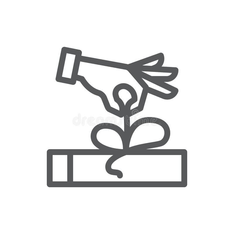L'ouverture humaine de main a enveloppé la ligne mince icône de boîte-cadeau avec la course editable illustration libre de droits