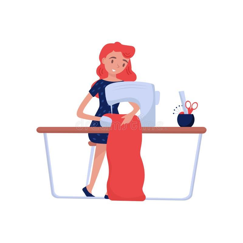 L'ouvrière couturière professionnelle s'asseyant à la table avec la machine à coudre et coud des vêtements Couturier Thème du tra illustration stock
