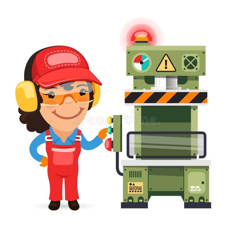 L'ouvrier féminin travaille à la machine de presse illustration stock