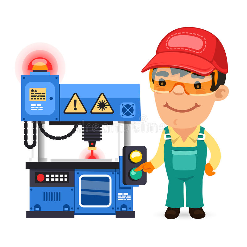 L'ouvrier travaille au traceur de laser illustration libre de droits