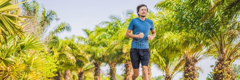 L?pareidrottsman nenspring p? tropiskt parkerar mankonditionsoluppgång som joggar BANRET för genomkörarewellnessbegrepp, LÅNGT FO arkivfoto