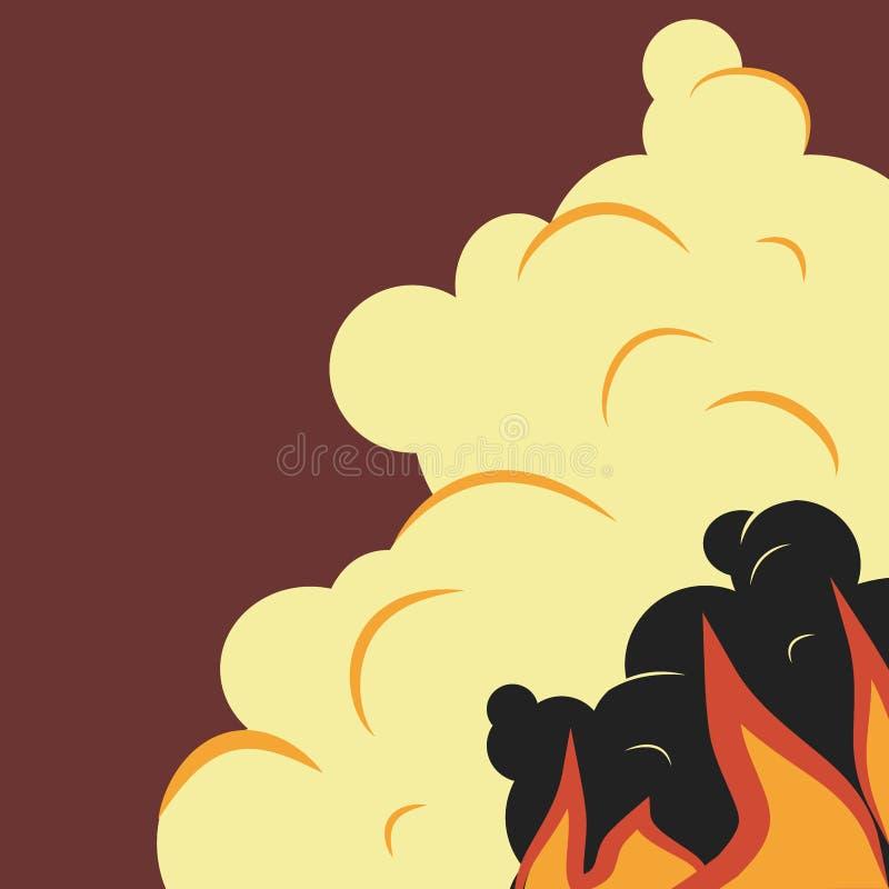 l?peld Flamma och rök i plan stil royaltyfri illustrationer