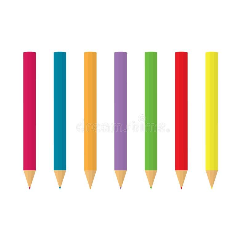 L?pices coloridos en fila stock de ilustración