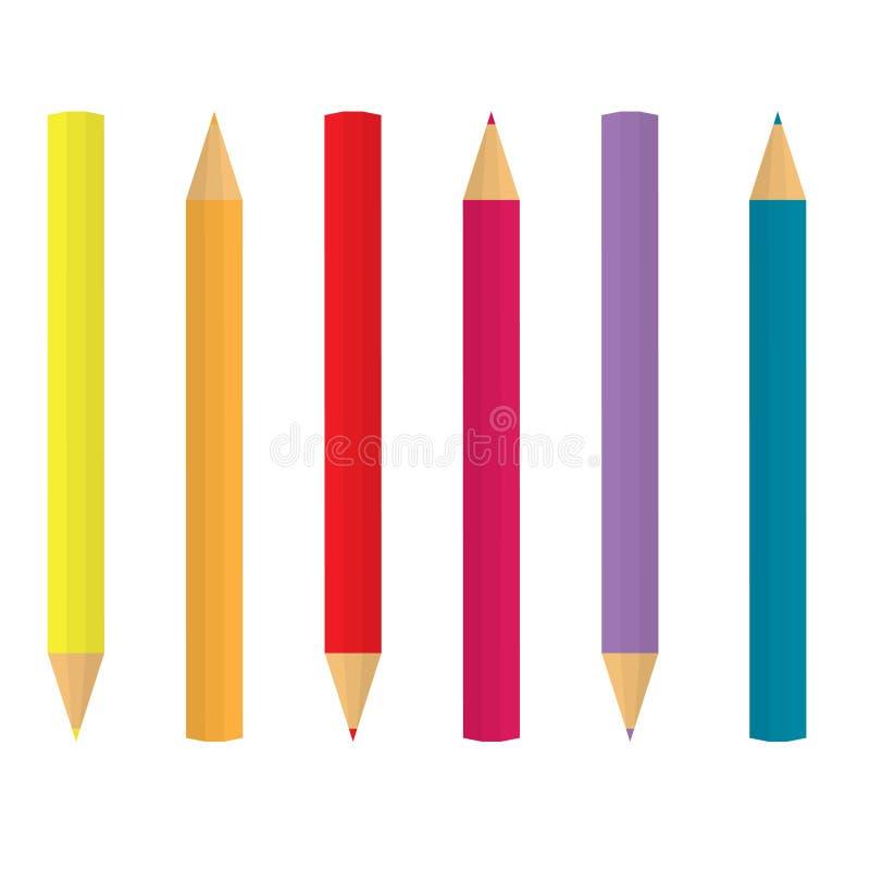 L?pices coloridos en fila ilustración del vector