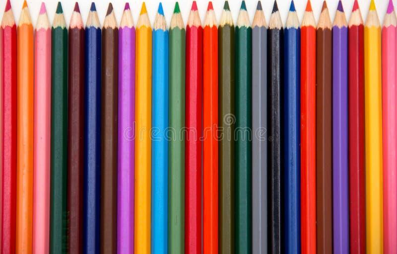 L?pices del color aislados en el fondo blanco Cierre para arriba imagenes de archivo
