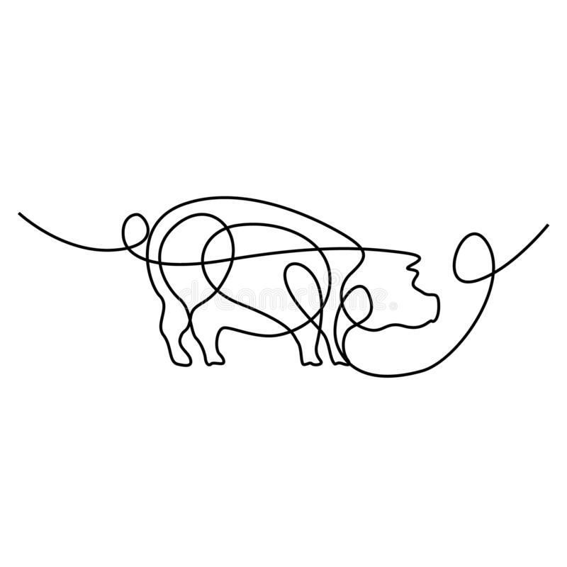 A l?pis cont?nuo porco do desenho Ilustra??o do vetor ilustração stock