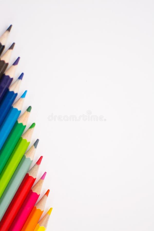 L?pis da cor isolados em um fundo branco fotografia de stock