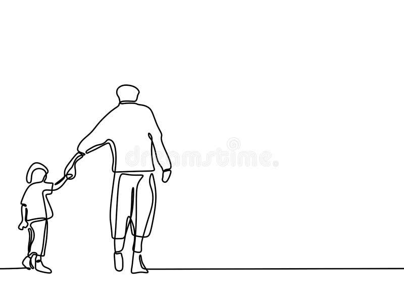 A l?pis desenho cont?nuo de um conceito bonito Father' do pai e das crian?as de fam?lia; momento da felicidade do cart?o do d ilustração royalty free