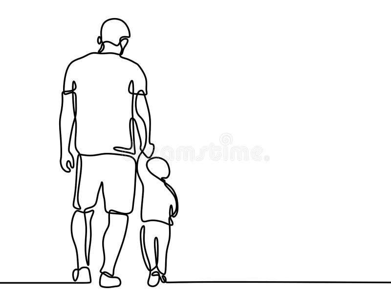 A l?pis desenho cont?nuo de um conceito de fam?lia bonito Father' do pai e do filho; estilo do minimalismo do cart?o do dia d ilustração royalty free