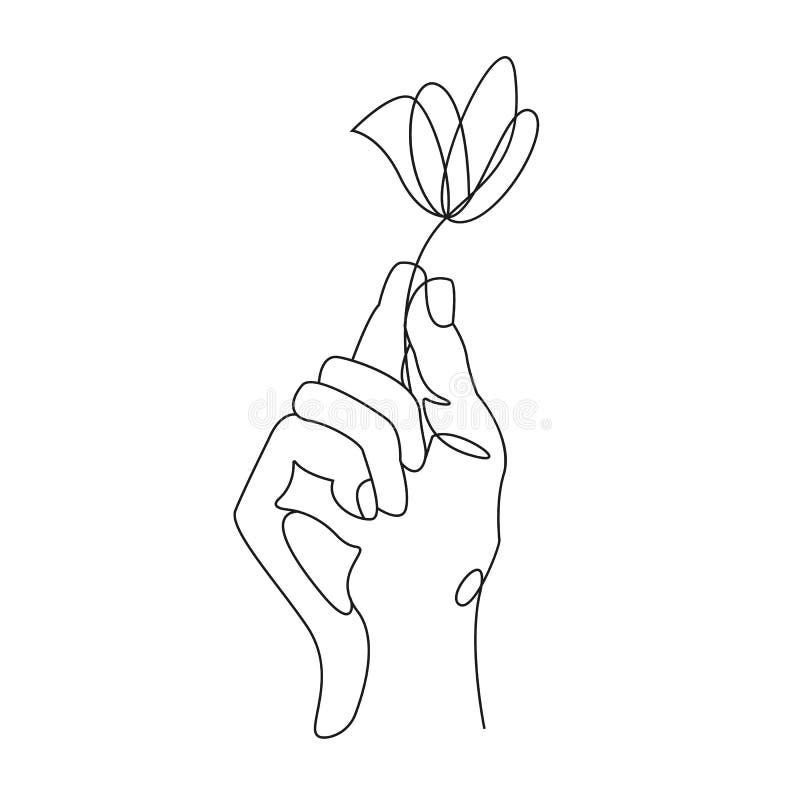 A l?pis desenho cont?nuo M?o que guardara a flor Ilustra??o do vetor ilustração do vetor