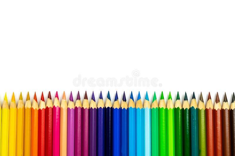 L?piz del color con el espacio de la copia aislado en el fondo blanco foto de archivo libre de regalías