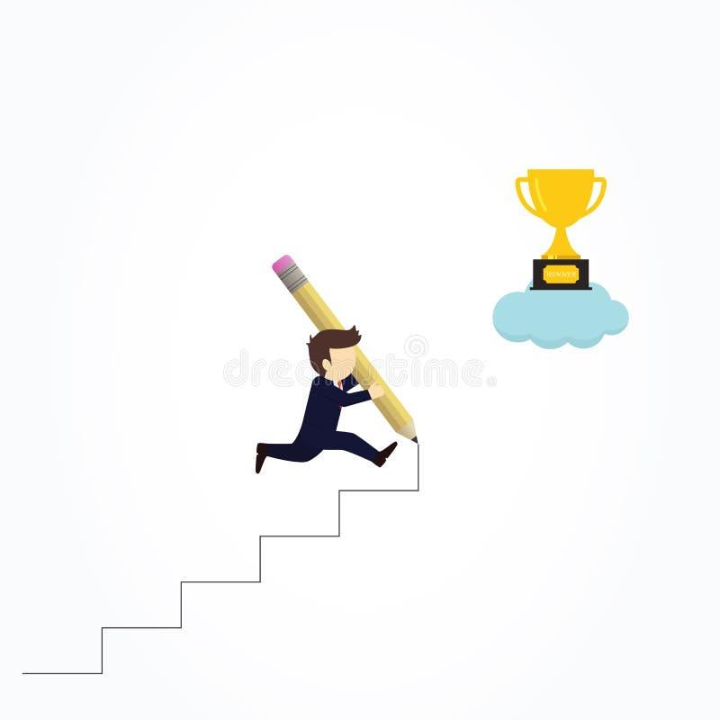 L?piz feliz del uso del hombre de negocios para crear su propia escalera al ?xito stock de ilustración