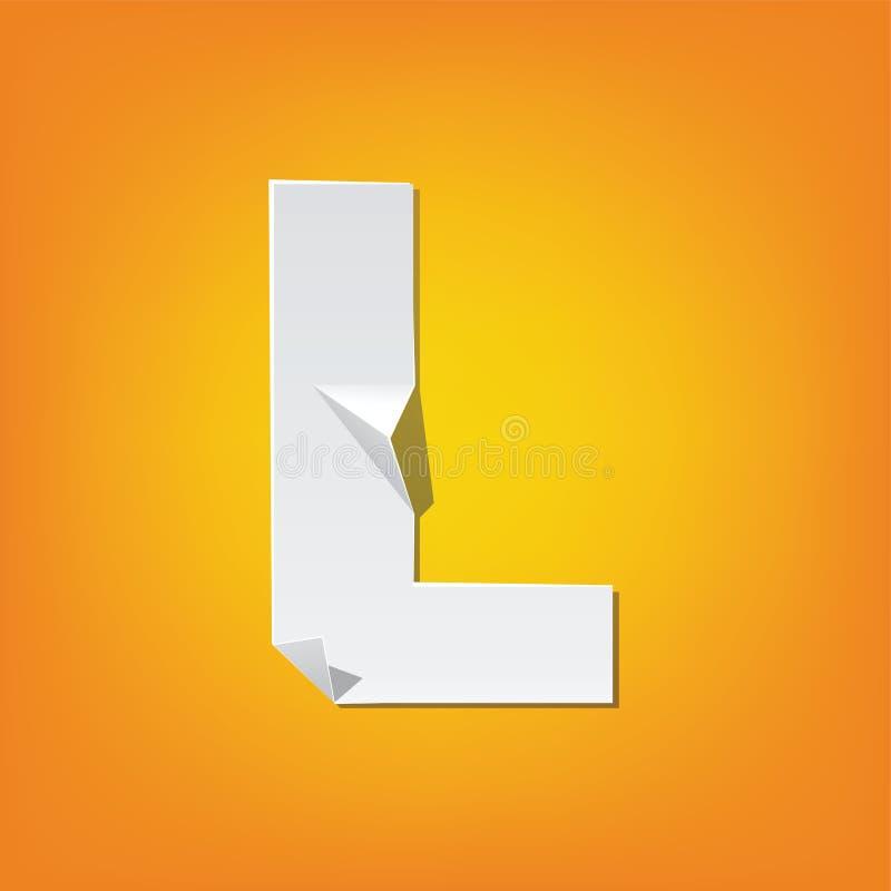 L projeto novo do alfabeto inglês da dobra da letra principal ilustração do vetor