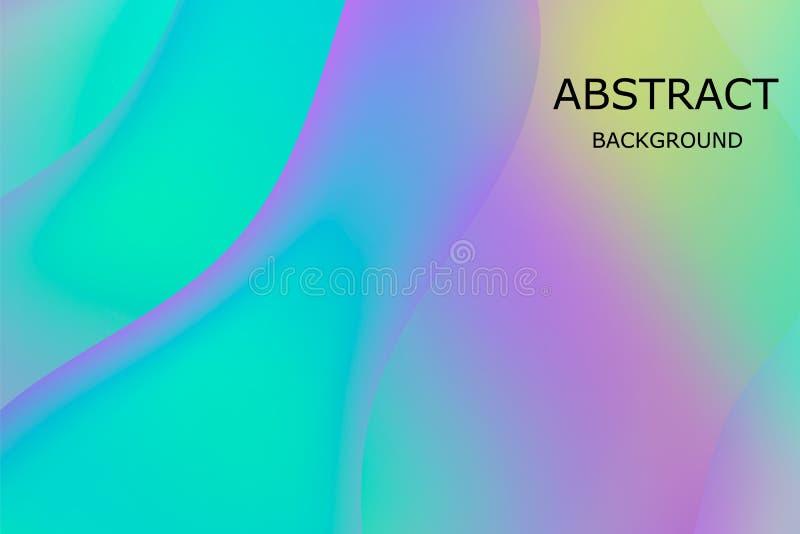 L?quido l?quido Malla viva de la pendiente Tarjeta minimalista, plantilla de la presentación Contexto olográfico 3d con de moda m stock de ilustración