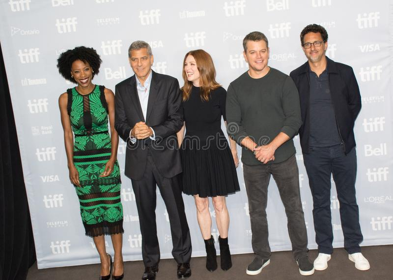 Premiere of the film Suburbicon at toronto international film festival. L-R Actress Karimah Westbrook, writer/director/producer George Clooney, actors Julianne stock photography
