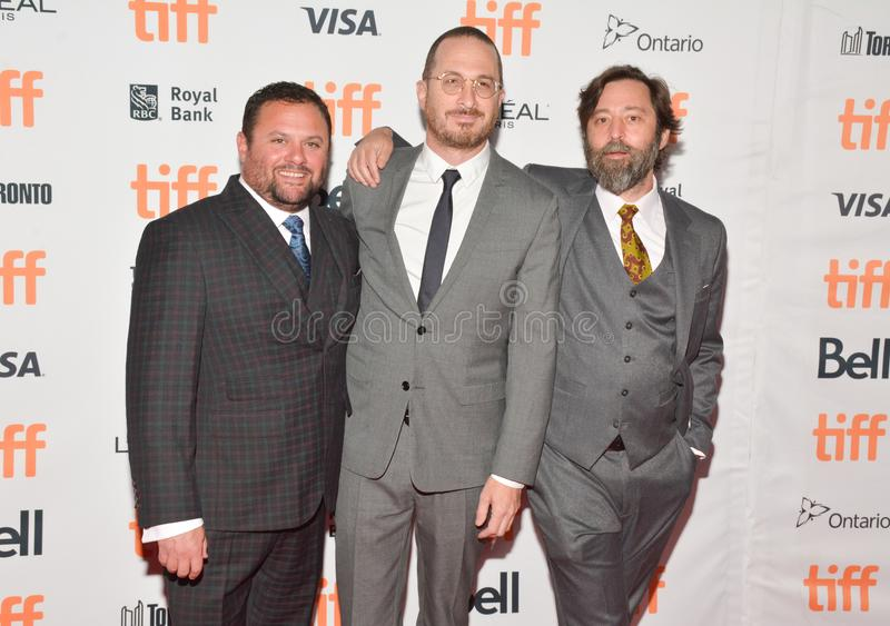 Directors and Producers of `Mother` Premiere at Toronto International Film Festival. L-R Scott Franklin, Director Darren Aronofsky, and Ari Handel attendsthe royalty free stock images