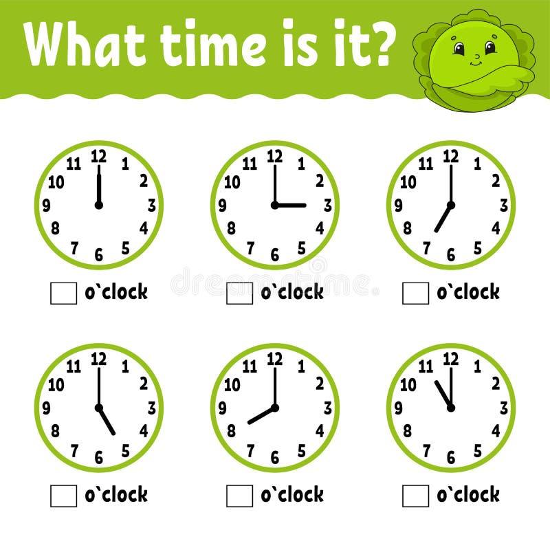 L?rande tid p? klockan Arbetssedel f?r bildande aktivitet f?r ungar och sm? barn Lek f?r barn Enkel plan isolerad vektor vektor illustrationer