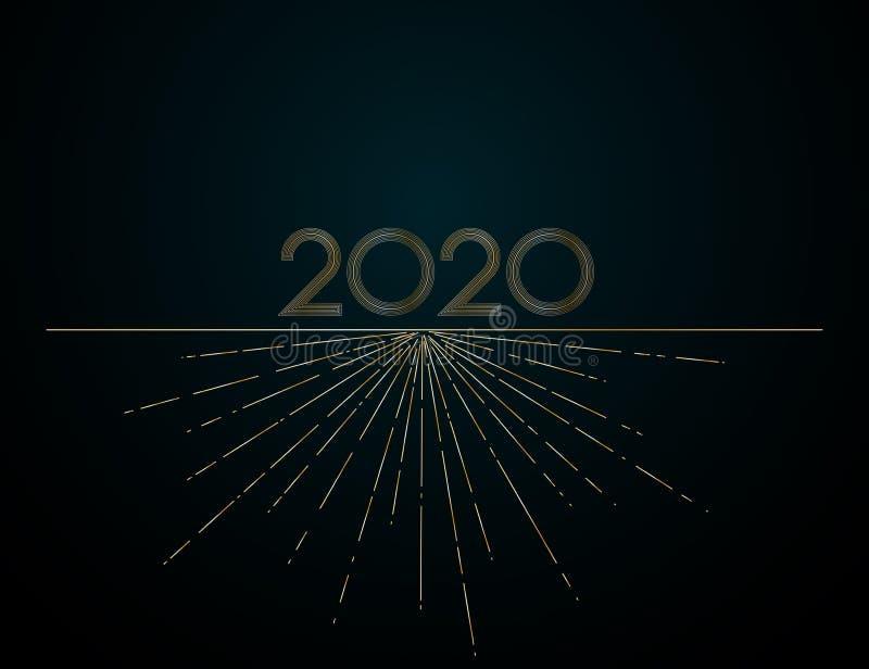 L'or raye 2020 nouvelles années sur un élément créatif de fond foncé pour les invitations de luxe de calendrier de cartes de conc illustration libre de droits
