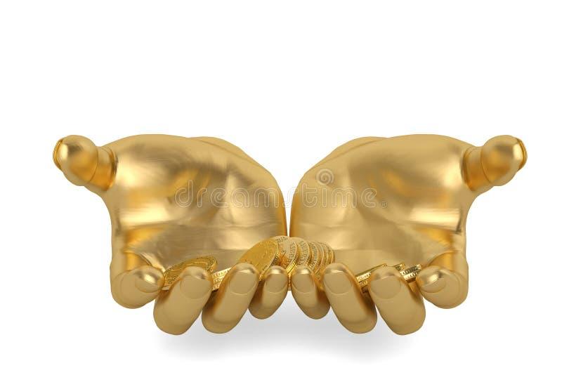 L'or remet la conservation tenant les pièces d'or sur un fond blanc, 3D i illustration stock