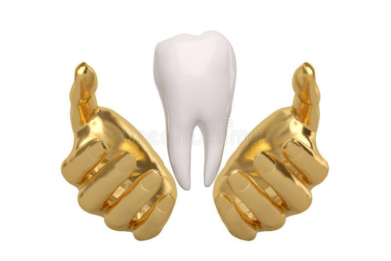 L'or remet la conservation tenant ou protégeant la dent, l'illustration 3D illustration de vecteur