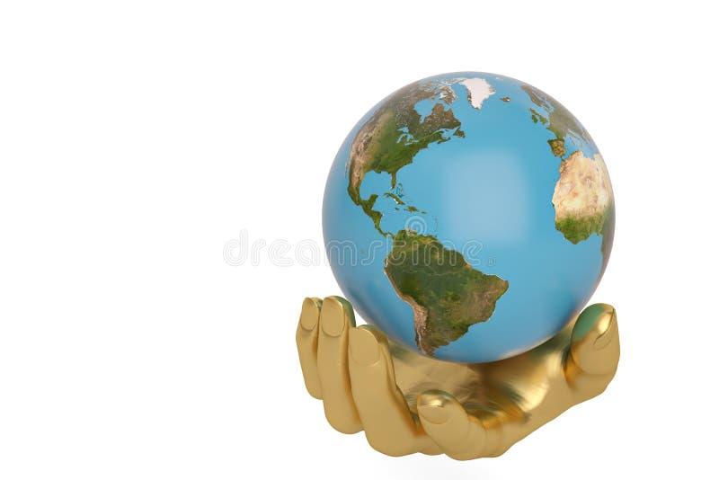 L'or remet la conservation tenant ou protégeant le globe, l'illustration 3D illustration stock