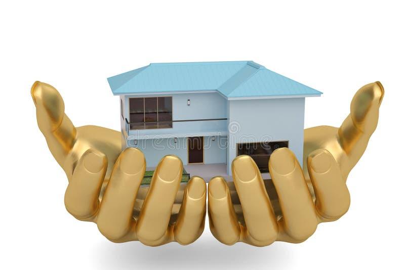 L'or remet la conservation tenant ou protégeant la maison, l'illustration 3D illustration libre de droits
