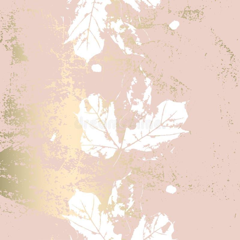L'or rose de feuillage d'automne rougissent fond chic à la mode illustration de vecteur