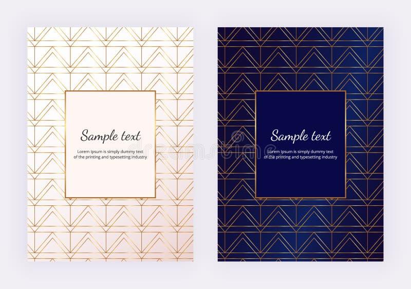 L'or s'est levé les lignes géométriques sur la texture de marbre blanche Conception minimaliste Fond moderne pour l'invitation, c illustration de vecteur
