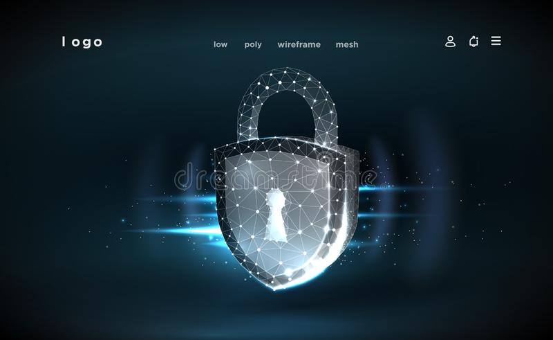l?s Polygonal wireframeingrepp Illustrerar cyberdatas?kerhet eller informationsavskildhetsid? Göra sammandrag hi hastighetsintern royaltyfri illustrationer