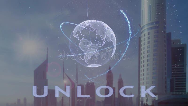 L?s text med hologrammet 3d av planetjorden upp mot bakgrunden av den moderna metropolisen royaltyfri illustrationer