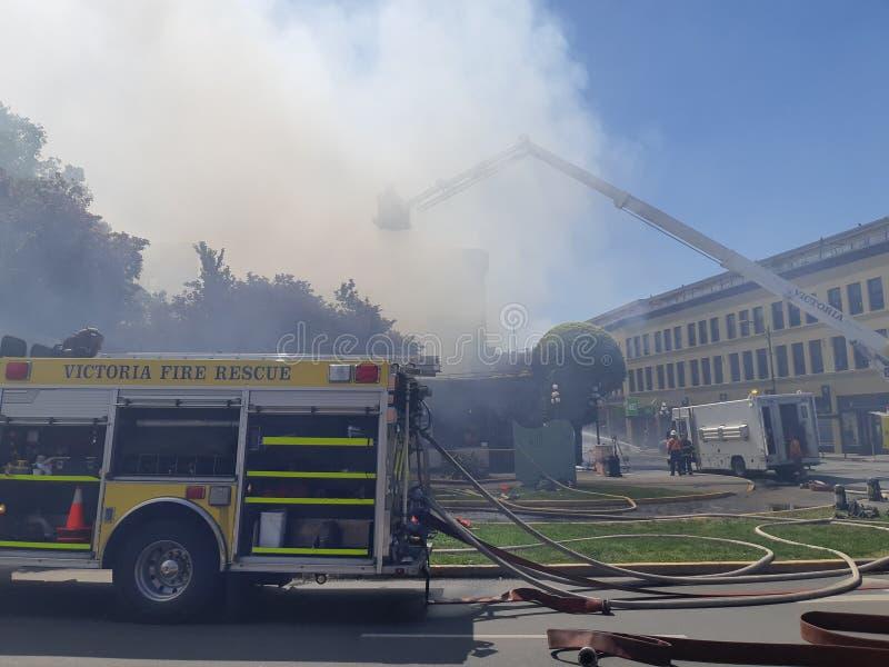 L?schfahrzeug betrieben durch Victoria Fire-Abteilung stockfoto