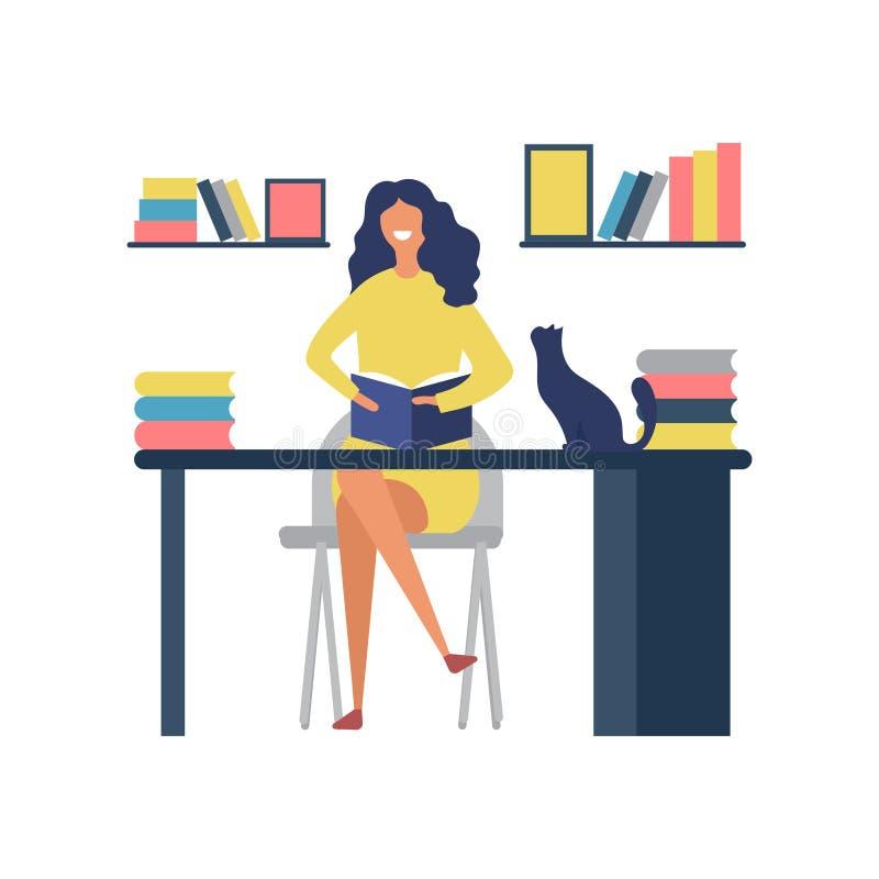 L?sebokhobbyer Kvinna som sitter på tabellen och läser tidskriftvektorbegrepp royaltyfri illustrationer