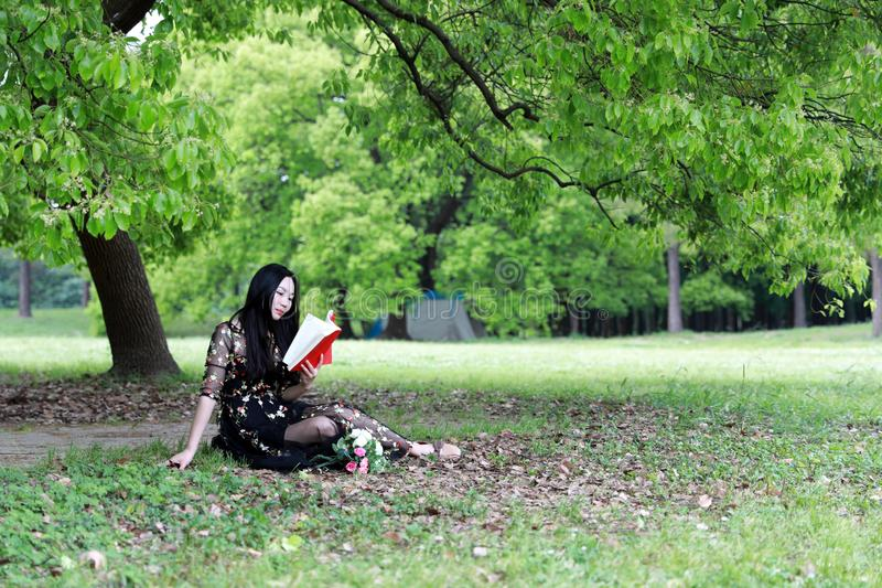 l?st sittande tree f?r blomning bok under arkivfoton
