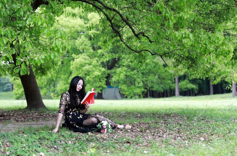 l?st sittande tree f?r blomning bok under arkivbild