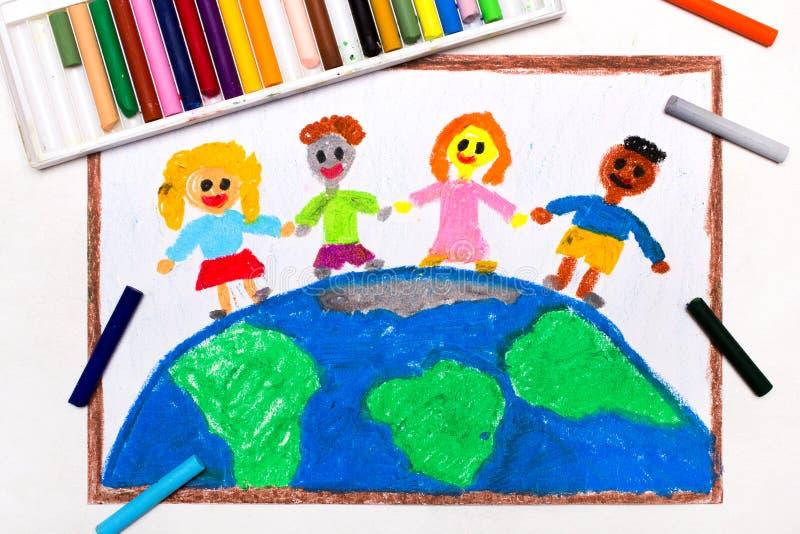 L teckning: Internationella barn av världen fotografering för bildbyråer