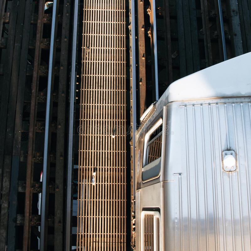 L train. From above royalty free stock photography