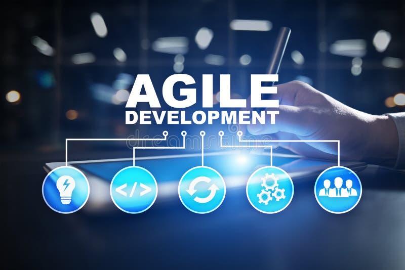 L?ttr?rlig utveckling, programvara och applikation som programmerar begrepp p? den faktiska sk?rmen royaltyfri illustrationer