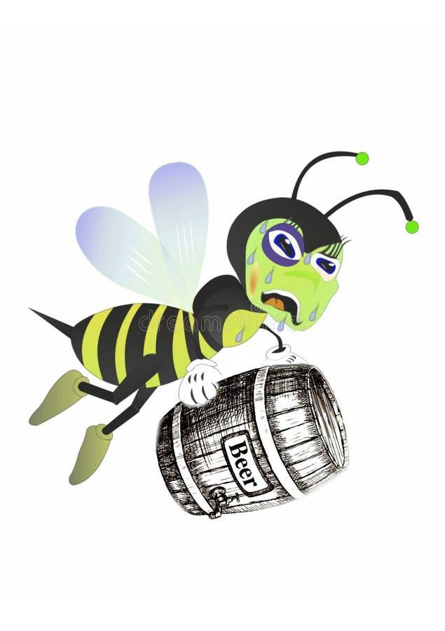 L'ubriacone dell'ape ama la birra illustrazione di stock