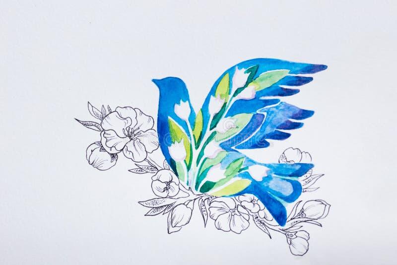 L'uccellino azzurro di schizzo si è tuffato su un fondo bianco fotografia stock