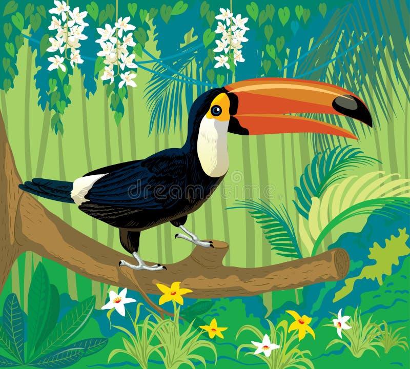 L'uccello è un tucano in natura royalty illustrazione gratis