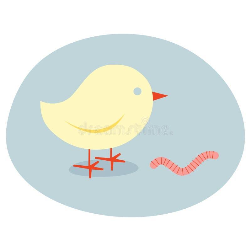 L'uccello in anticipo cattura la vite senza fine fotografie stock