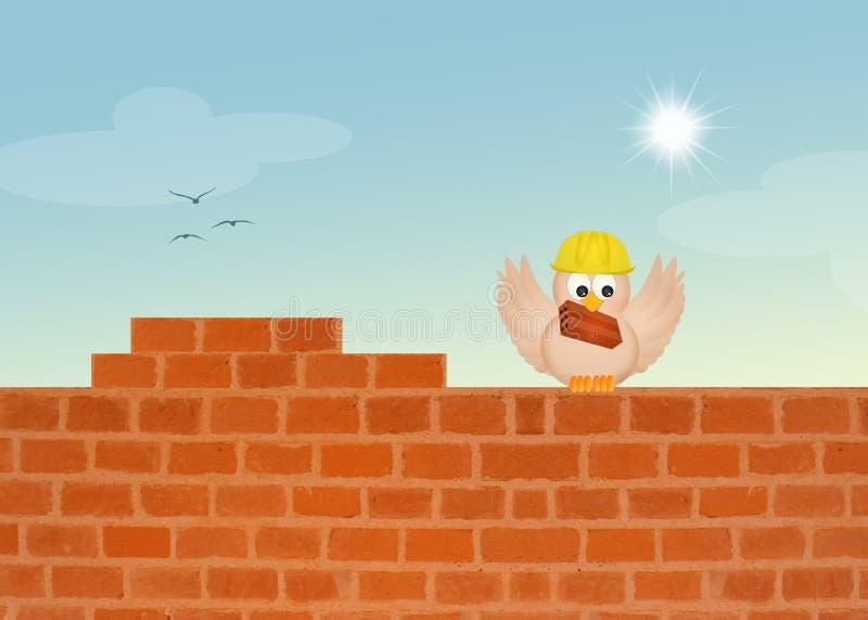 L'uccello costruisce il muro di mattoni royalty illustrazione gratis