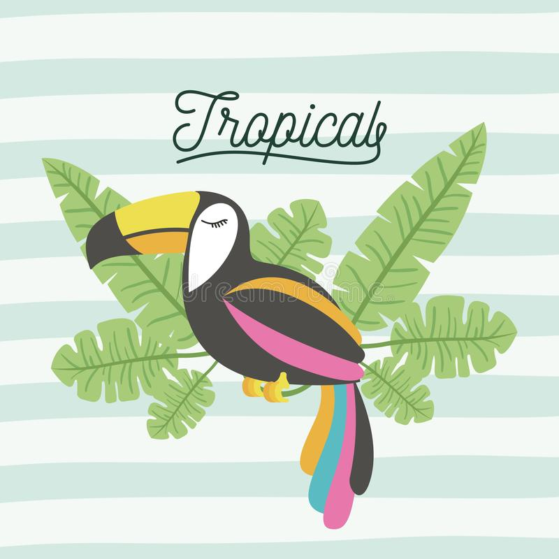 L'uccello del tucano tropicale con le foglie sulle linee decorative colora il fondo illustrazione di stock