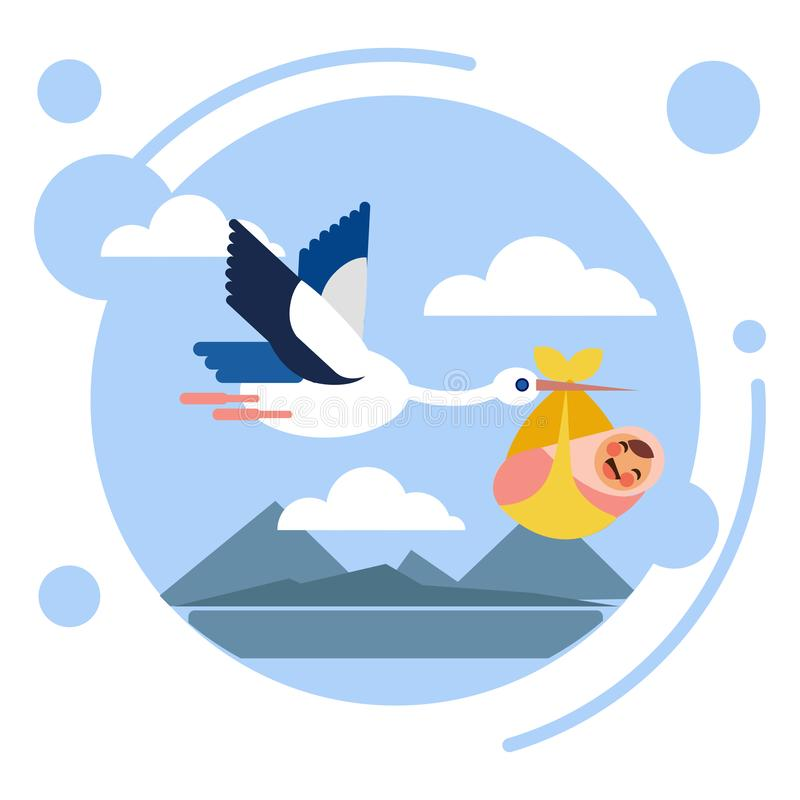 L'uccello della cicogna porta l'illustrazione di vettore del bambino illustrazione di stock
