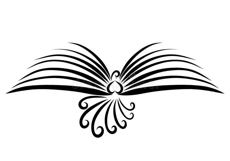 L'uccello di volo con le ali gradisce un libro aperto, linee nere royalty illustrazione gratis