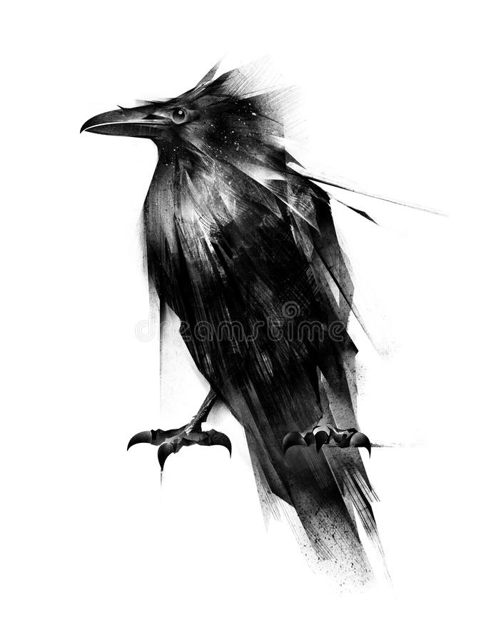 L'uccello dipinto è un corvo che si siede su un fondo bianco illustrazione vettoriale