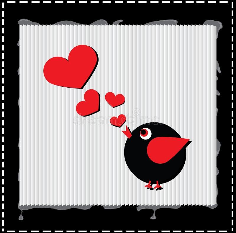 L'uccello sta cantando la canzone di amore dai cuori illustrazione vettoriale