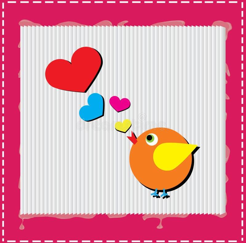 L'uccello sta cantando la canzone di amore dai cuori illustrazione di stock