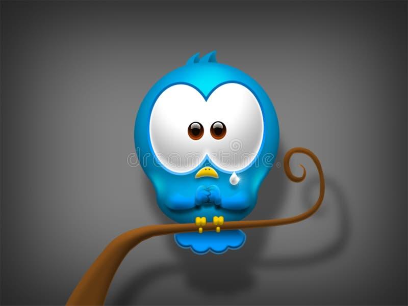 L'uccello triste sta aspettando il vostro aiuto illustrazione vettoriale